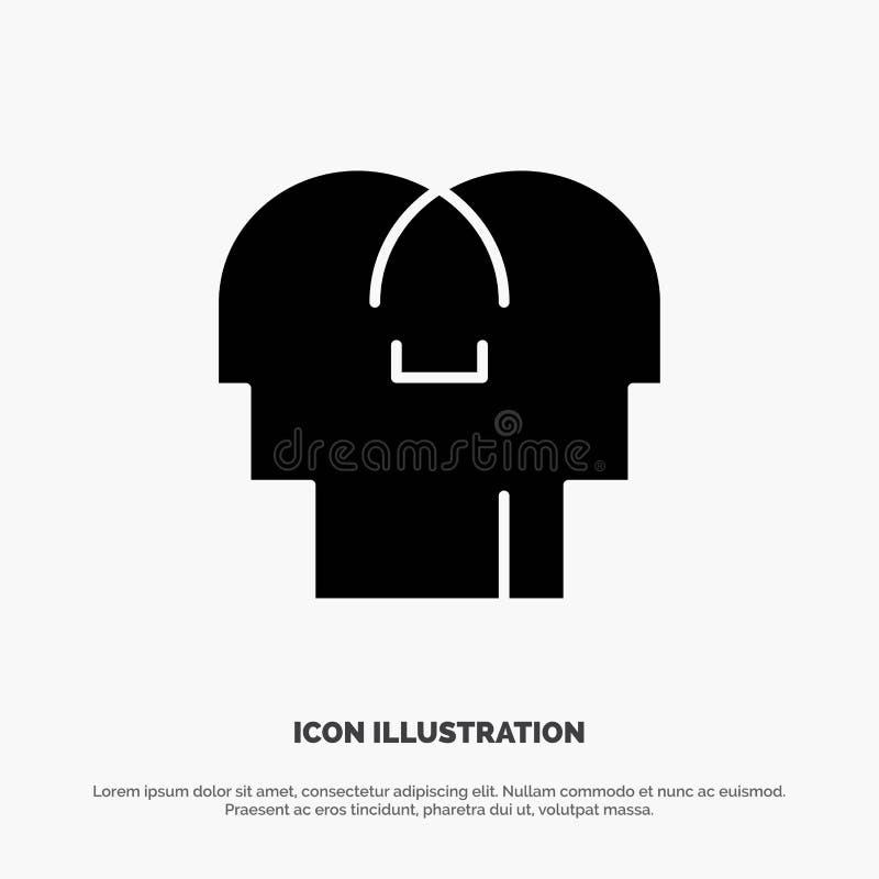 Empathie, sentiments, esprit, vecteur solide d'icône de Glyph de tête illustration stock