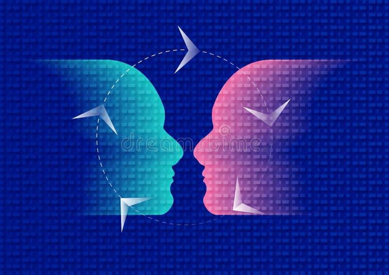 Empathiepictogram, emotionele donkerblauw en Roze vector illustratie