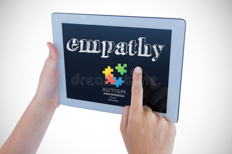 Empathy against autism awareness day. The word empathy and woman using tablet pc against autism awareness day vector illustration