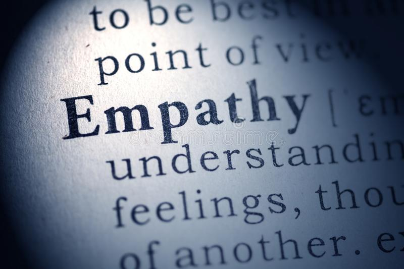 Definition of empathy. Fake Dictionary, Dictionary definition of empathy royalty free stock photography