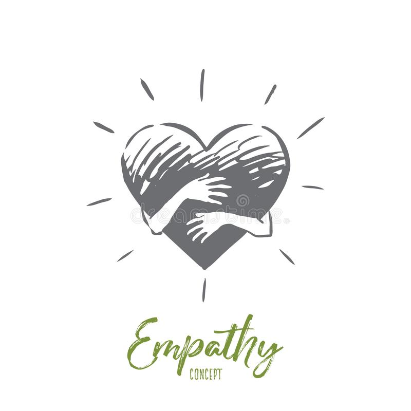 Empathy, heart, love, charity, support concept. Hand drawn isolated vector. Empathy, heart, love, charity, support concept. Hand drawn hands hugging heart stock illustration