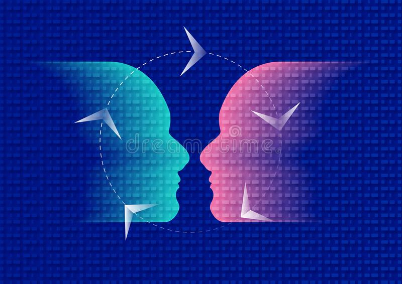 Empathy icon, emotional dark Blue and Pink stock photography