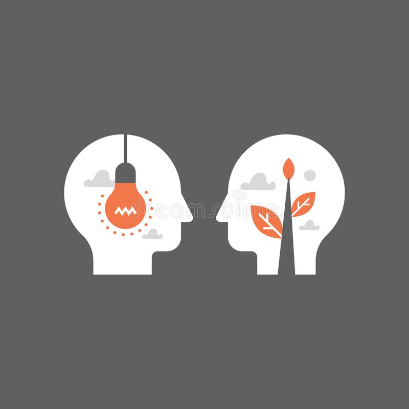 Empatia e comunicazione, concetto di mentoring, negoziato e persuasione, terreno di intesa, intelligenza emozionale royalty illustrazione gratis