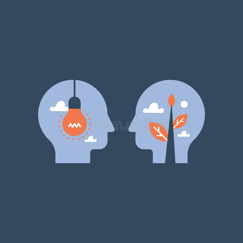 Empatia, komunikacja, mentorstwa pojęcie, negocjacja i perswadowanie, wspólna płaszczyzna, emocjonalna inteligencja royalty ilustracja