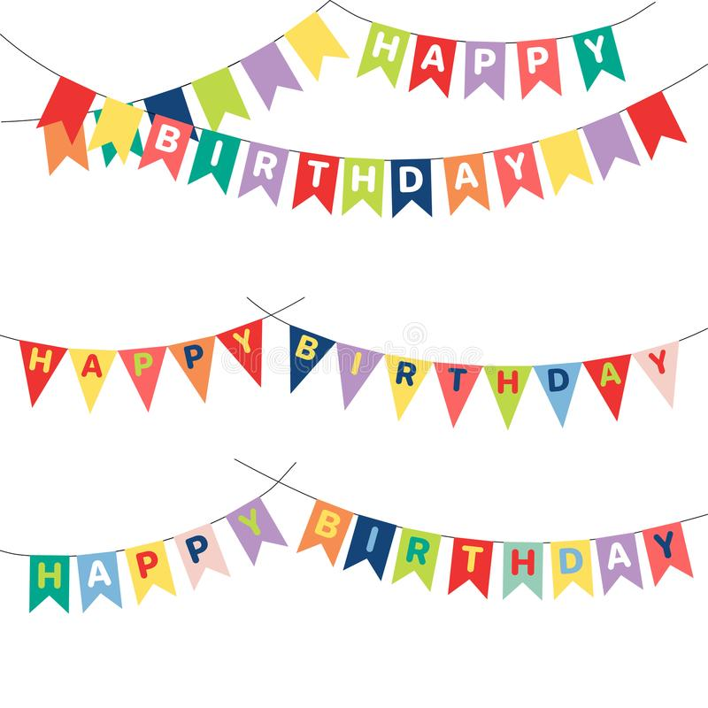 Empavesado del cumpleaños con las letras ilustración del vector