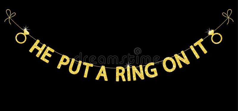 Empavesado lindo del partido de la soltera como letras y anillo de compromiso del brillo del oro libre illustration
