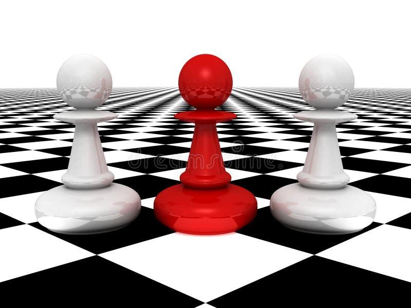 Empeños blancos delanteros del empeño rojo del concepto de la dirección ilustración del vector