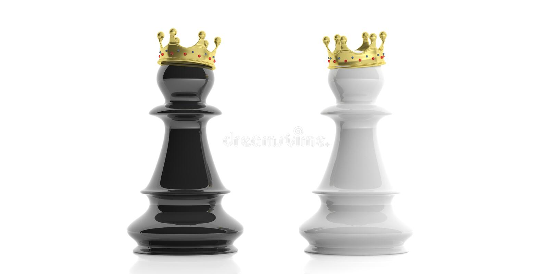 Empeños del ajedrez con las coronas en el fondo blanco ilustración 3D stock de ilustración