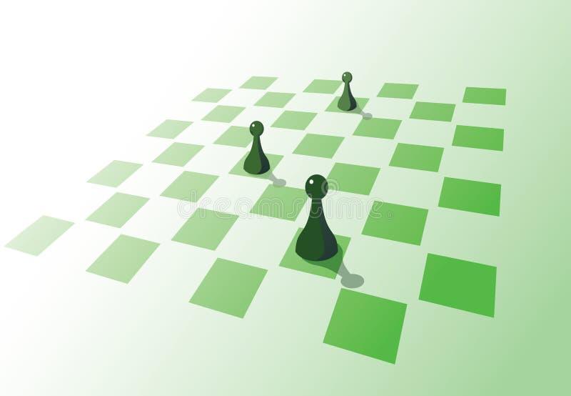 Empeños en una tarjeta de ajedrez stock de ilustración