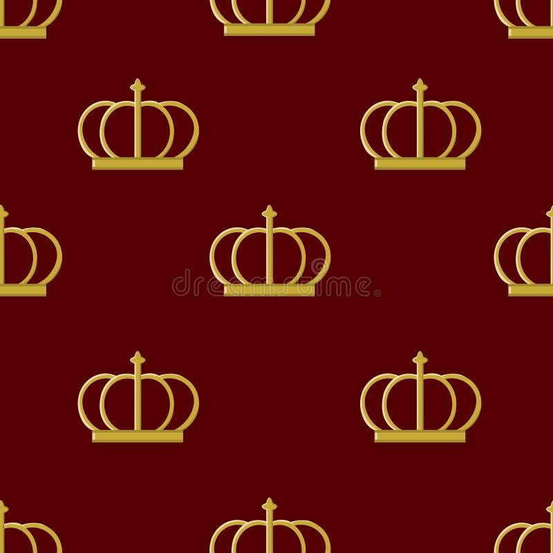 Emperador de oro de la corona del modelo inconsútil stock de ilustración