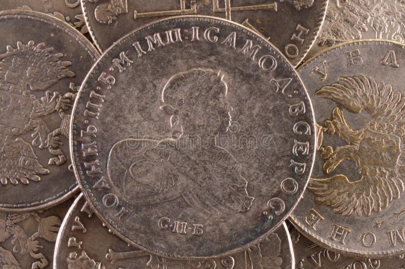 Emperador John Third Autocrat del ruso de la moneda 1741 de la rublo de la plata del fondo del vintage de toda la Rusia fotos de archivo libres de regalías