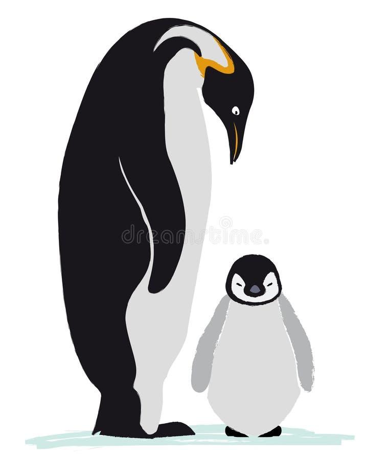 Emperor penguin family stock illustration