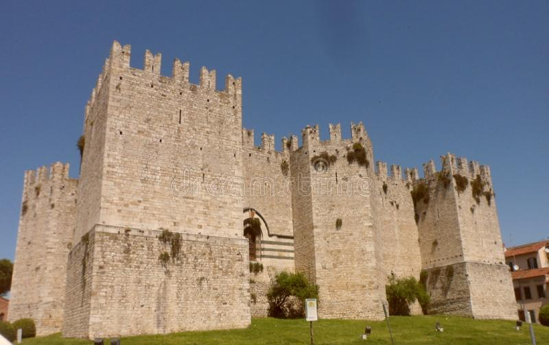 The Emperor`s Castle of the King of Frederick II, Prato. Close-up view of the Emperor`s Castle of King Frederick II in Prato in Tuscany, Italy, on the opposite stock photo