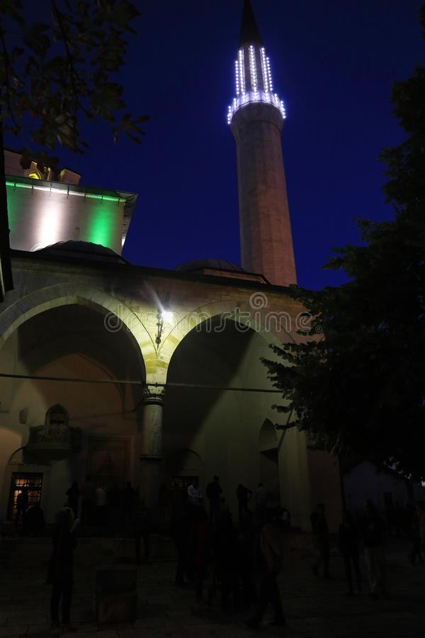 Emperor`s Mosque, by night stock images
