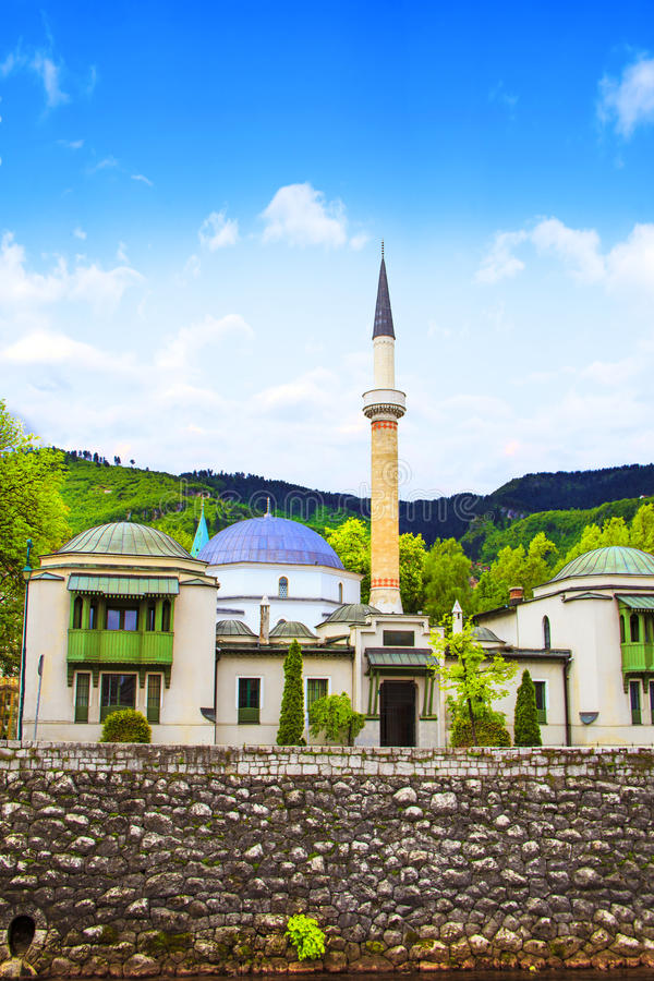 The Emperor`s Mosque in Sarajevo, on the banks of the Miljacki River, Bosnia and Herzegovina. On a sunny day royalty free stock photos