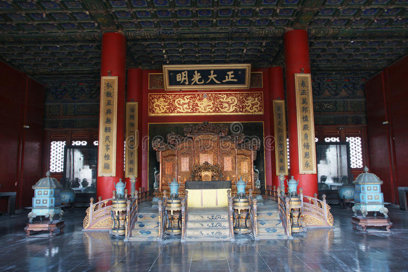 The emperor's throne. Is in Forbidden City. Forbidden City is the palace of China's Yuan Ming and Qing dynasty royalty free stock photo