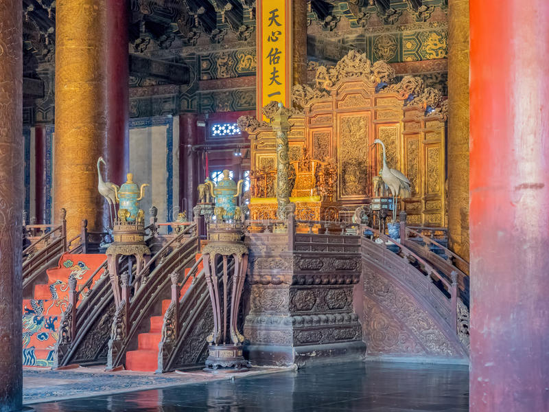 Emperor`s throne and court area in the Hall of Supreme Harmony Taihedian stock image