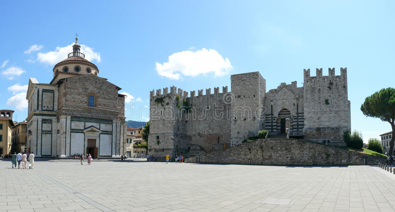 Emperors Castle and Santa Maria delle Carceri church in Prato royalty free stock photography