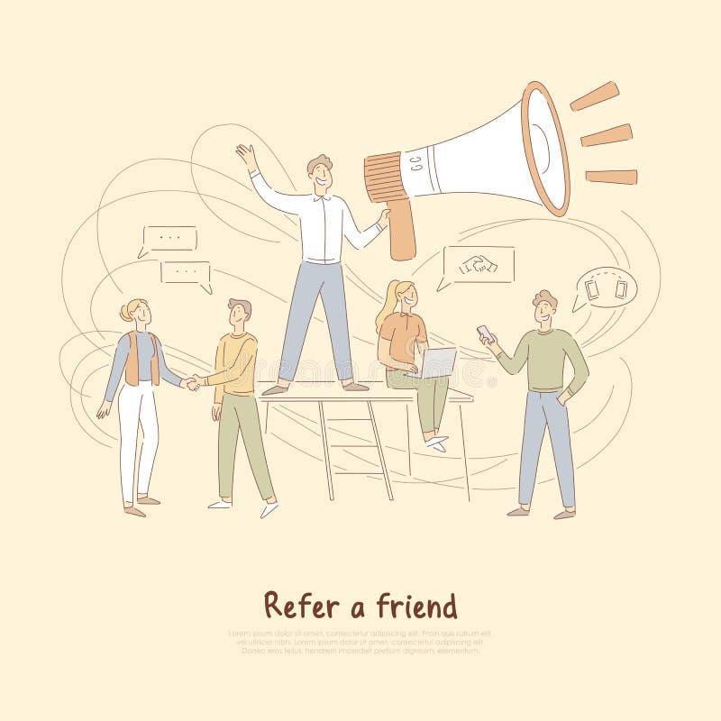 Empfehlungsprogramm, der Geschäftsmann, der enormes Megaphon, Marketing-Netz hält, verweisen eine Freundfahne vektor abbildung