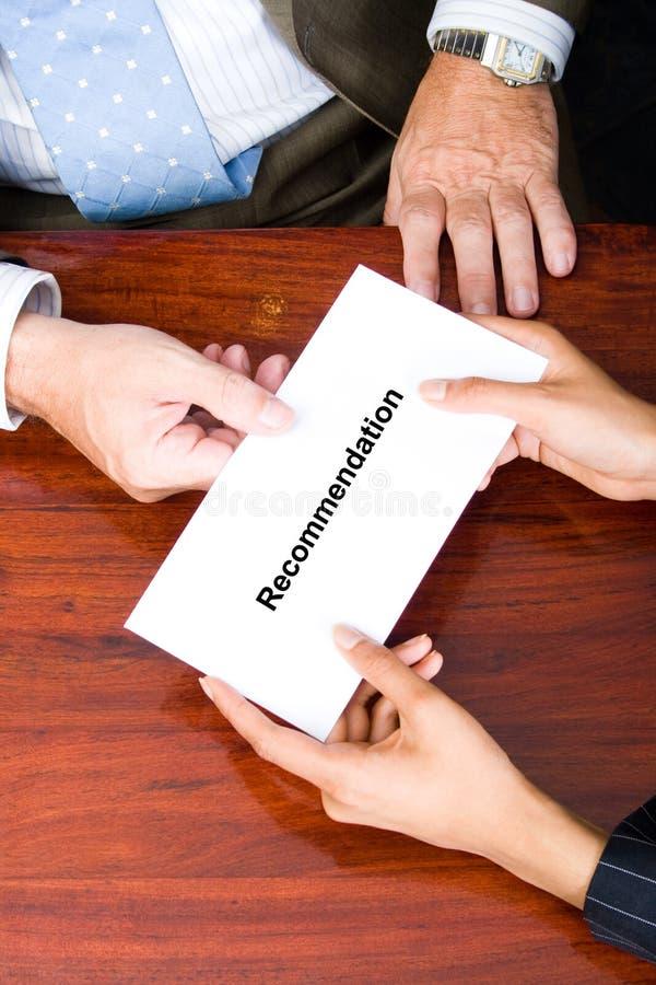 Empfehlungsschreiben stockfoto