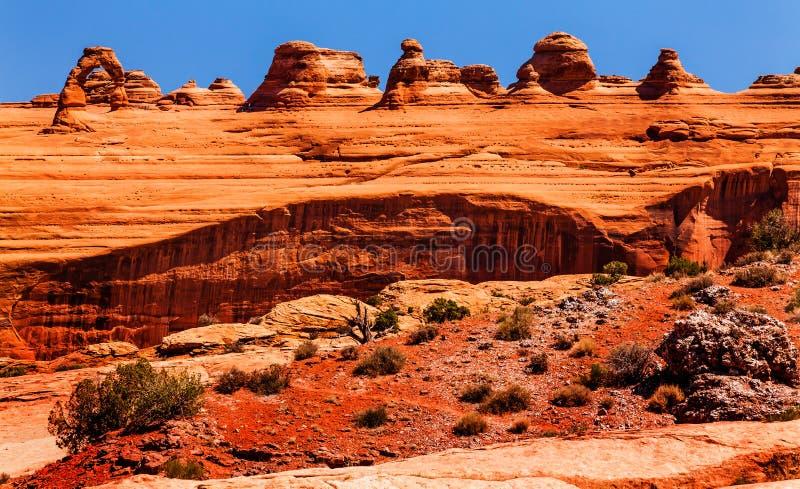 Empfindliche Bogen-Felsen-Schlucht wölbt Nationalpark Moab Utah lizenzfreie stockfotos
