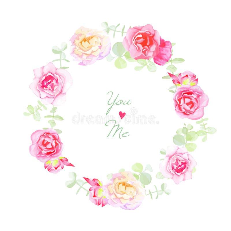 Empfindliche Rosen, die Kranzvektorkarte heiraten lizenzfreie abbildung