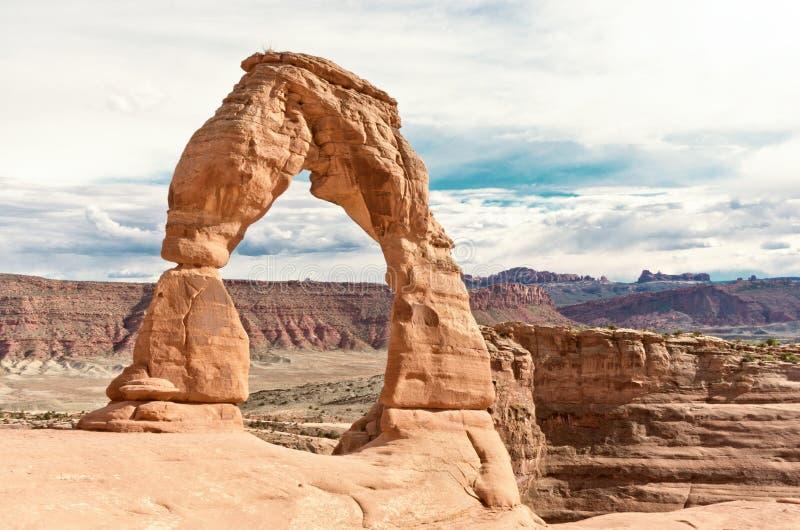 Empfindlicher Bogen, Bogen-Nationalpark Utah, USA lizenzfreie stockbilder