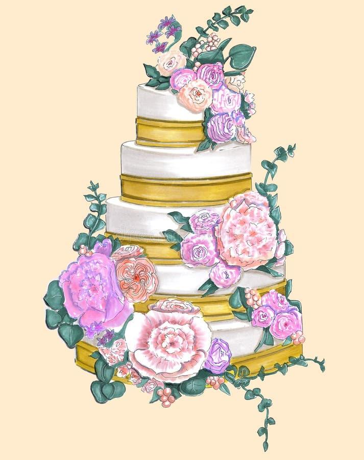 Empfindlicher Kuchen mit Gold und Blumen stockfotos