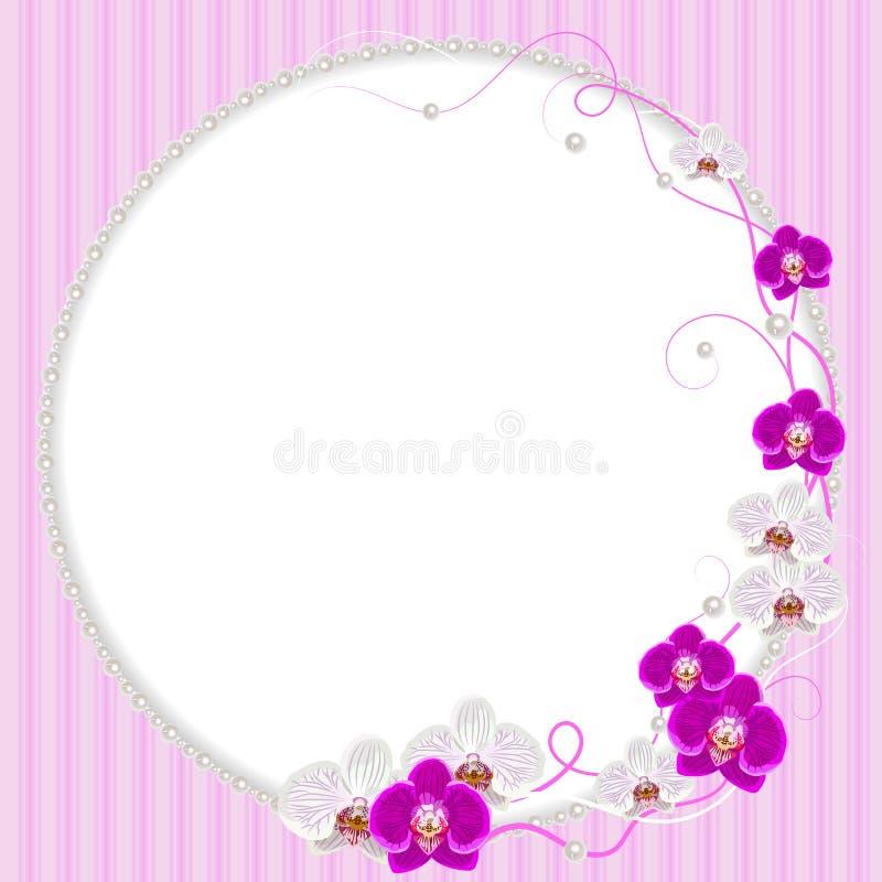 Empfindlicher Rahmen mit Orchideenblumen und -perlen lizenzfreie abbildung