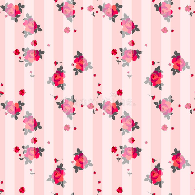 Empfindliches gestreiftes nahtloses Muster mit roten Rosen und kleinen Blumen lizenzfreie abbildung