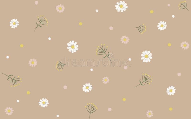 Empfindliches modisches nahtloses Blumendruck-Muster-beige Kamillen-Daisy Flower-Feldvektor-Illustrationsstickerei vektor abbildung