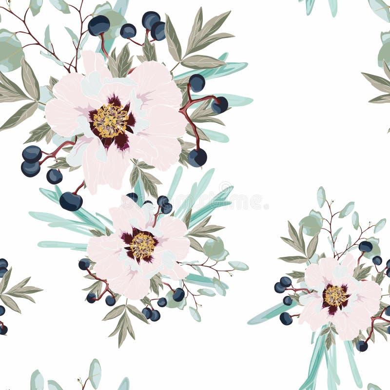 Empfindliches Muster der Blumenpfingstrose Rosen, Beeren, Anemonen und Eukalyptus, saftig lizenzfreie abbildung