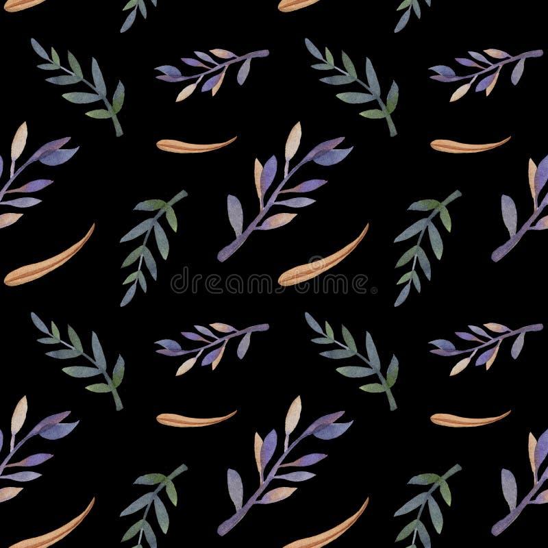 Empfindliches Muster des Aquarellherbstes mit Laub Schwarzer Hintergrund lizenzfreie abbildung
