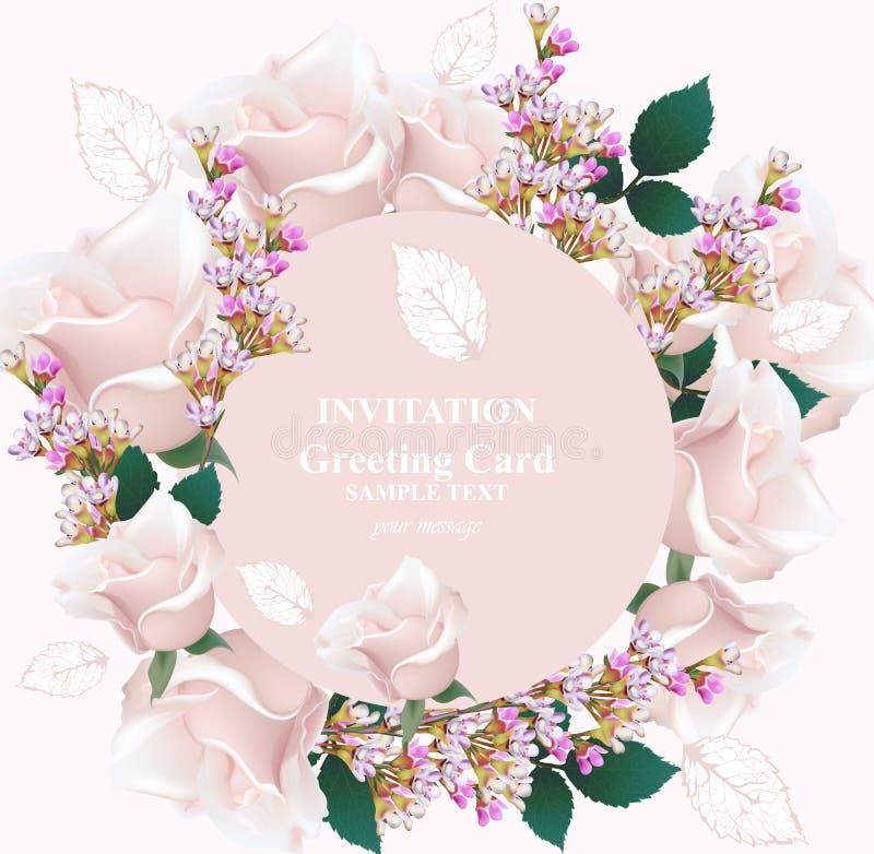 Empfindliches Rosafarbenes und Lavendel blüht Kartenvektor Runder Kranzrahmen Rosa Farben der Primel vektor abbildung