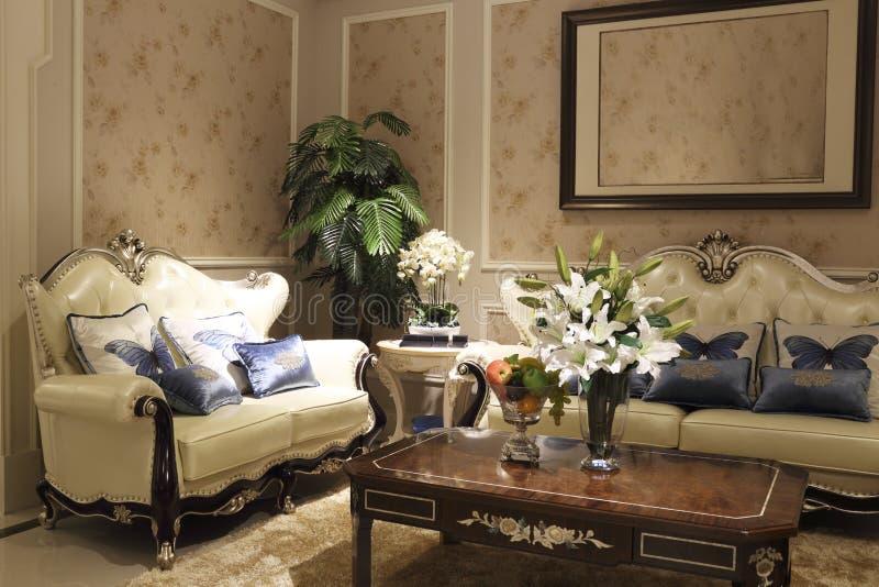 Empfindliches Sofa im Wohnzimmer lizenzfreie stockbilder