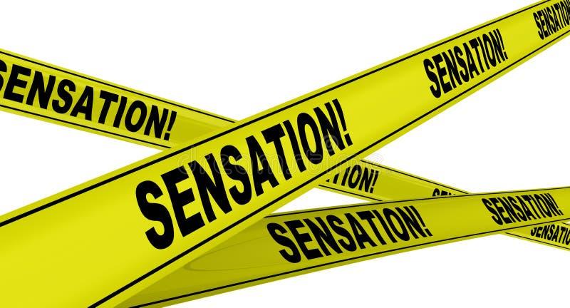 Empfindung! Gelbe warnende Bänder lizenzfreie abbildung