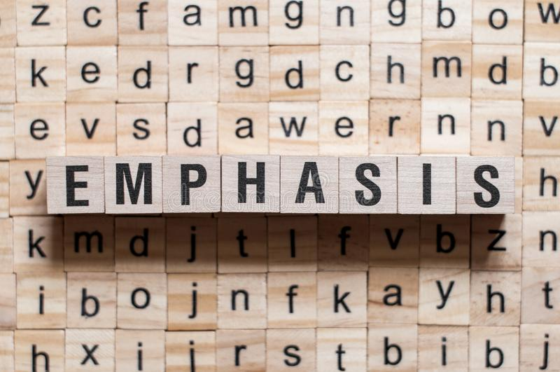 Emphasis word concept stock photo