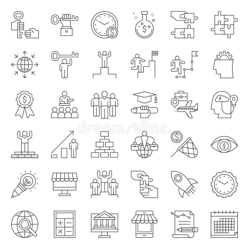 Empiece encima de e icono relacionado del empresario del éxito tal como modo de pensar ilustración del vector