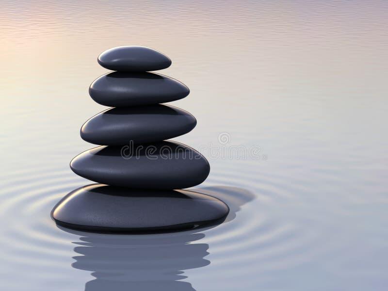 Empilement des pierres de zen sur l'eau illustration de vecteur