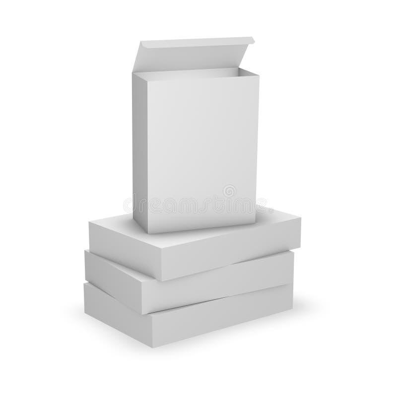 Empilez les boîtes de produit d'OD, calibre avec l'espace vide de copie, emballage de produit illustration libre de droits