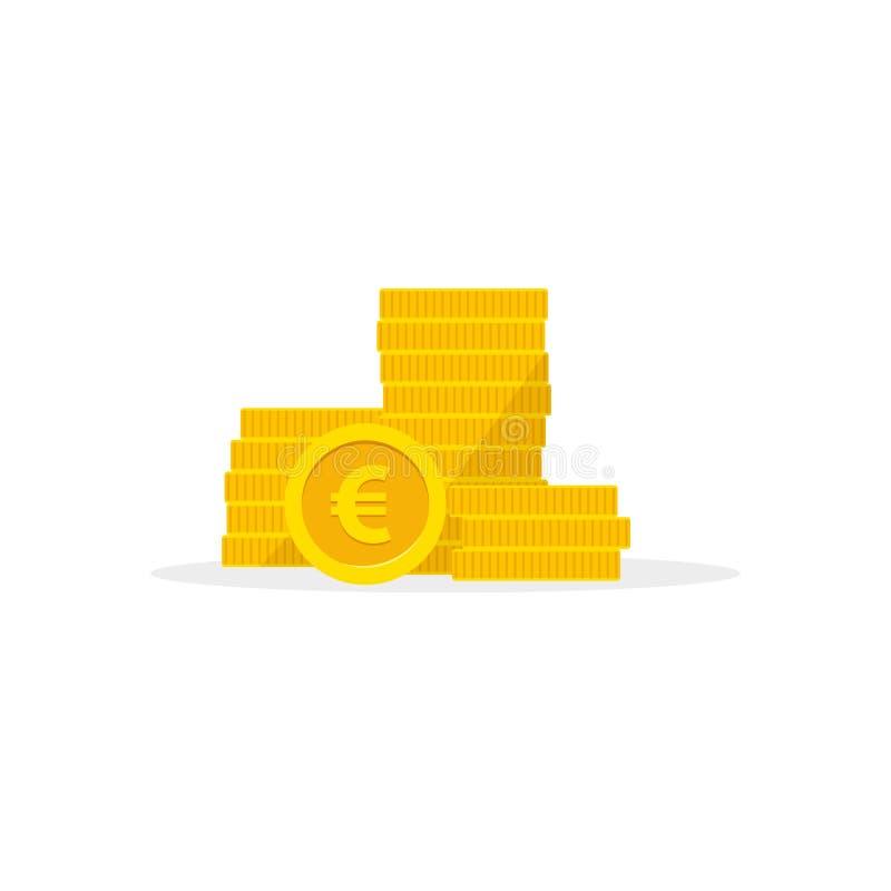 Empilez les euro pièces de monnaie d'or d'isolement sur un fond blanc Illustration de vecteur d'argent illustration stock