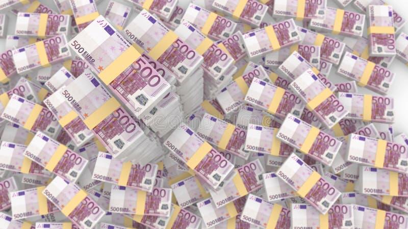 Empilha 500 euro- contas aleatórias com as três pilhas muito enormes ilustração do vetor