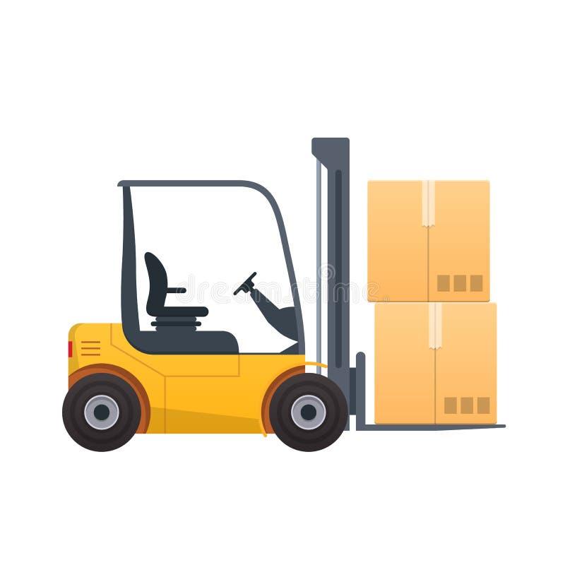 Empilhadeira com caixas, pacotes, carga, produtos Máquina com carga levantada ilustração stock