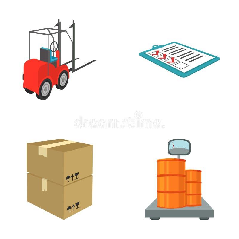 A empilhadeira, deslizamentos da entrega, empacotou os bens, carga em escalas de peso Ícones ajustados da logística e da coleção  ilustração royalty free