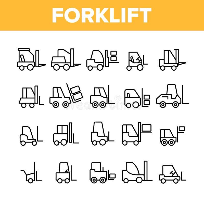 Empilhadeira, grupo linear dos ícones do vetor do caminhão de elevador ilustração royalty free