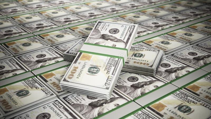 Empilhado 100 contas de dinheiro do dólar ilustração 3D ilustração royalty free