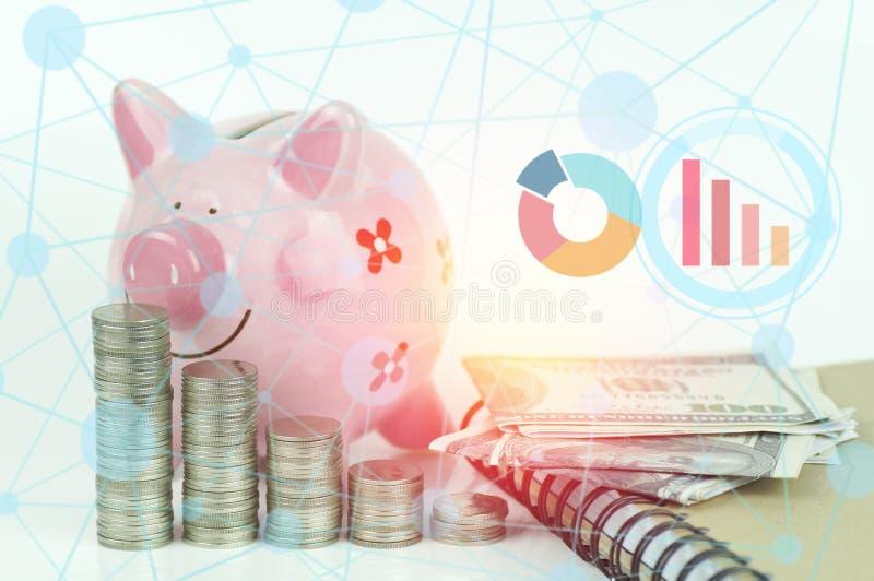 Empilhado das moedas, fundo branco do AON do mealheiro cor-de-rosa com gráfico da conexão de negócio, conceito no crescimento ilustração do vetor