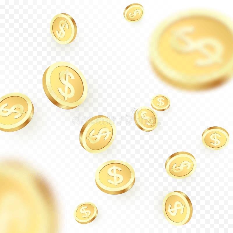 Empilhe as moedas douradas de queda isoladas no fundo transparente Chuva brilhante do dólar do metal Vitória do jackpot do casino ilustração do vetor