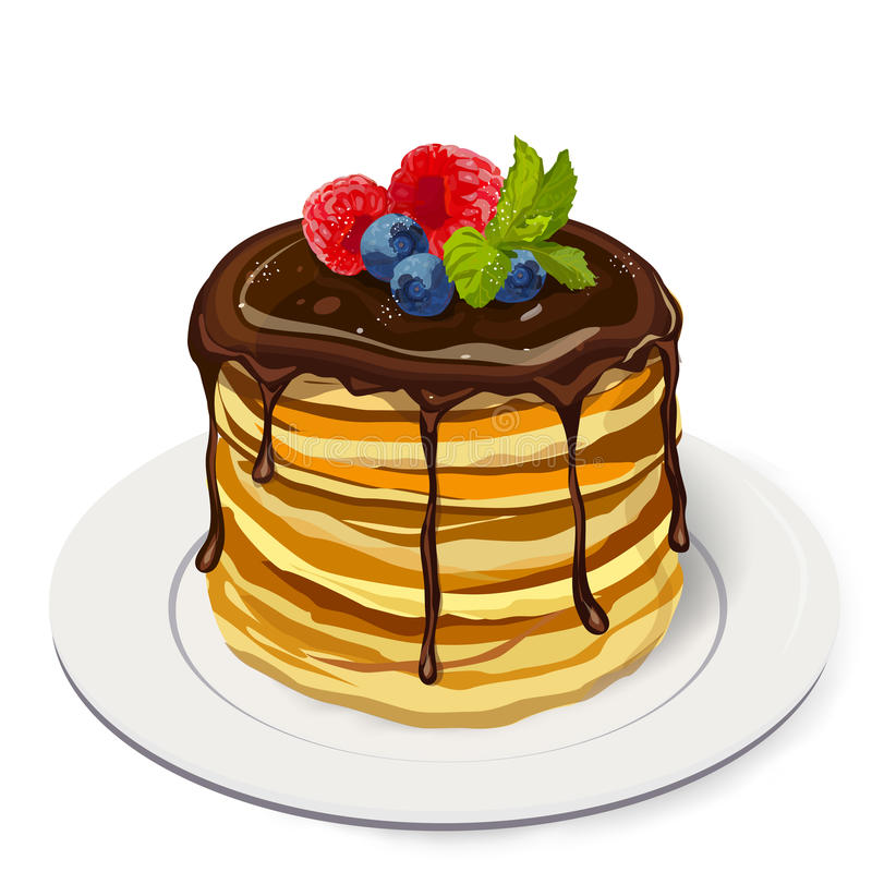 Empilhe panquecas deliciosas com molho de chocolate, framboesa, bluebe ilustração do vetor