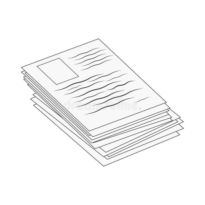 Empilhe, pilha de projeto do ?cone do s?mbolo do vetor do ?cone da Web do arquivo de original de papel Ilustra??o bonita isolada  ilustração royalty free